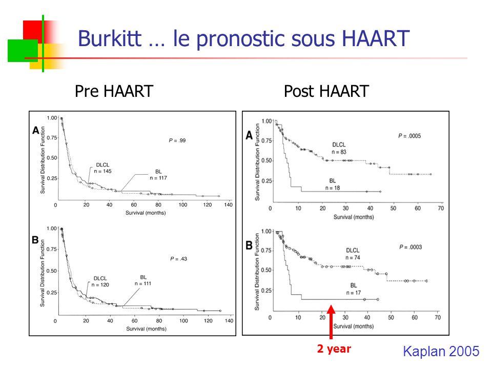 Burkitt … le pronostic sous HAART Pre HAARTPost HAART Kaplan 2005 2 year