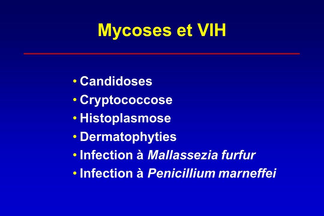 Mycoses et VIH Candidoses Cryptococcose Histoplasmose Dermatophyties Infection à Mallassezia furfur Infection à Penicillium marneffei