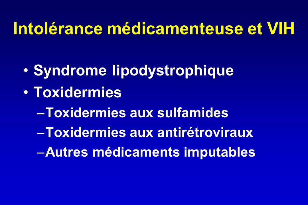 Intolérance médicamenteuse et VIH Syndrome lipodystrophique Toxidermies –Toxidermies aux sulfamides –Toxidermies aux antirétroviraux –Autres médicamen