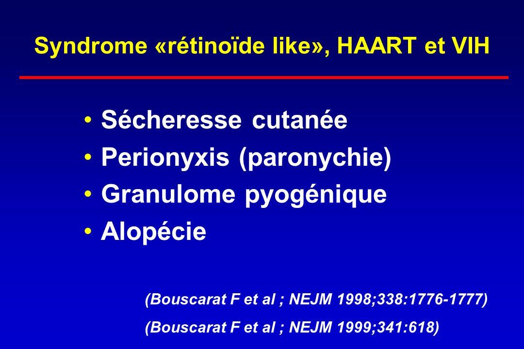 Syndrome «rétinoïde like», HAART et VIH Sécheresse cutanée Perionyxis (paronychie) Granulome pyogénique Alopécie (Bouscarat F et al ; NEJM 1998;338:17