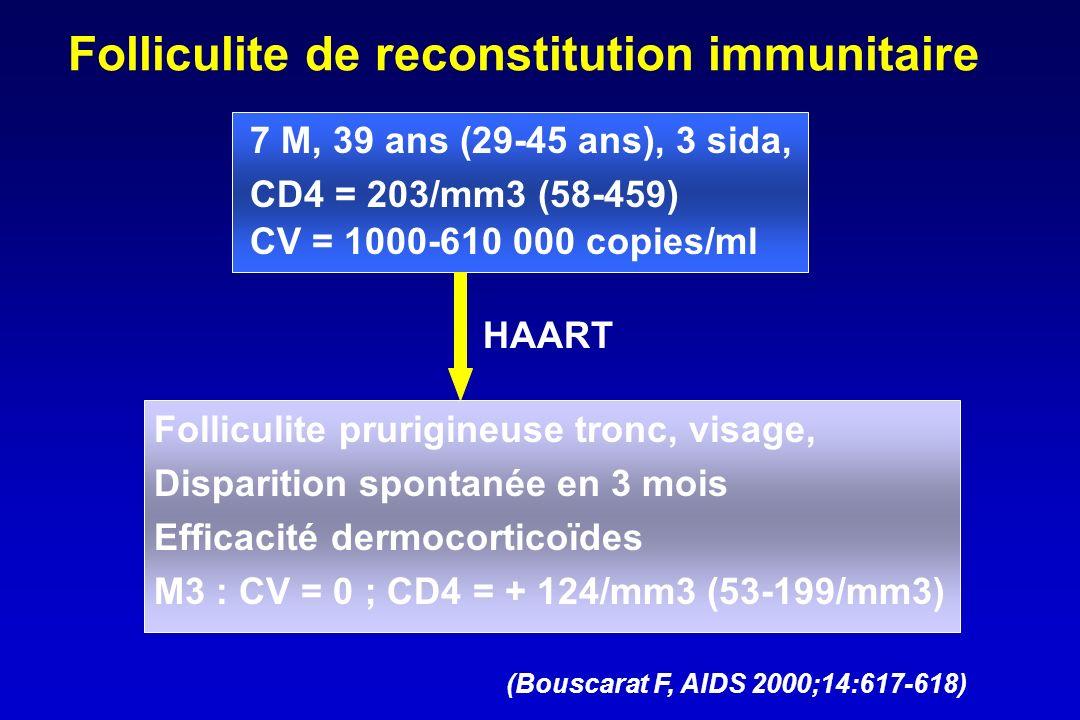 Folliculite de reconstitution immunitaire 7 M, 39 ans (29-45 ans), 3 sida, CD4 = 203/mm3 (58-459) CV = 1000-610 000 copies/ml HAART Folliculite prurig