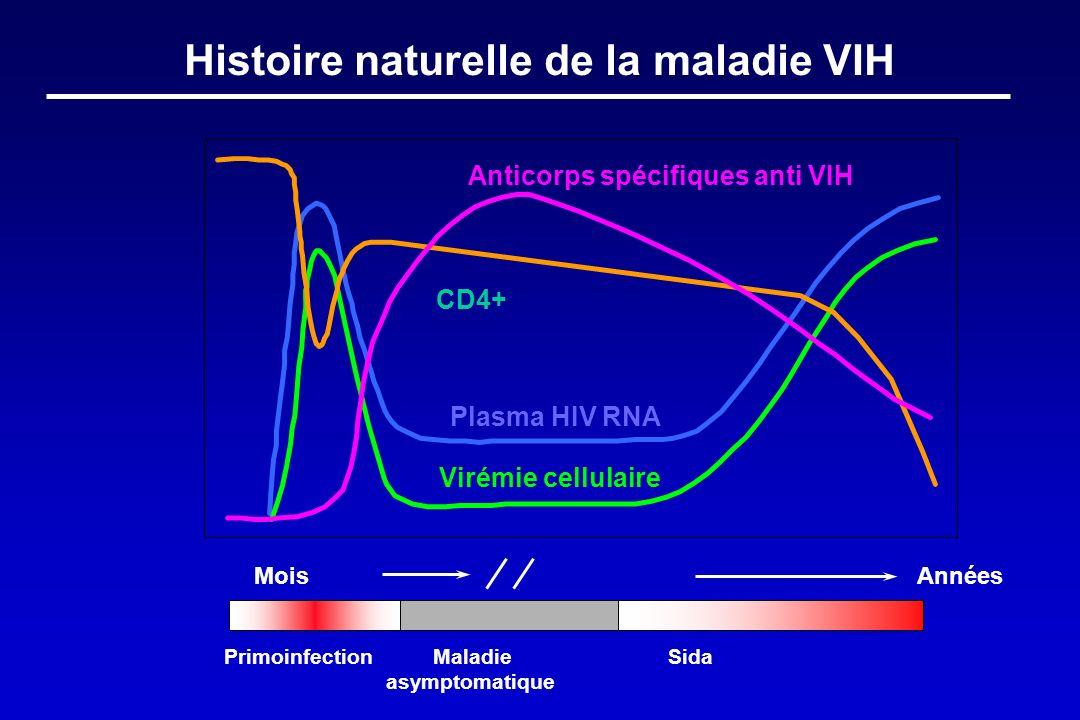 Plasma HIV RNA Virémie cellulaire Anticorps spécifiques anti VIH CD4+ Mois Histoire naturelle de la maladie VIH Années Primoinfection Maladie Sida asy