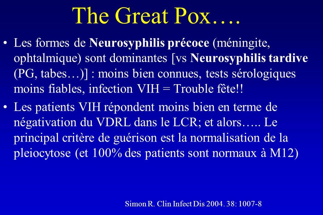 The Great Pox…. Les formes de Neurosyphilis précoce (méningite, ophtalmique) sont dominantes [vs Neurosyphilis tardive (PG, tabes…)] : moins bien conn