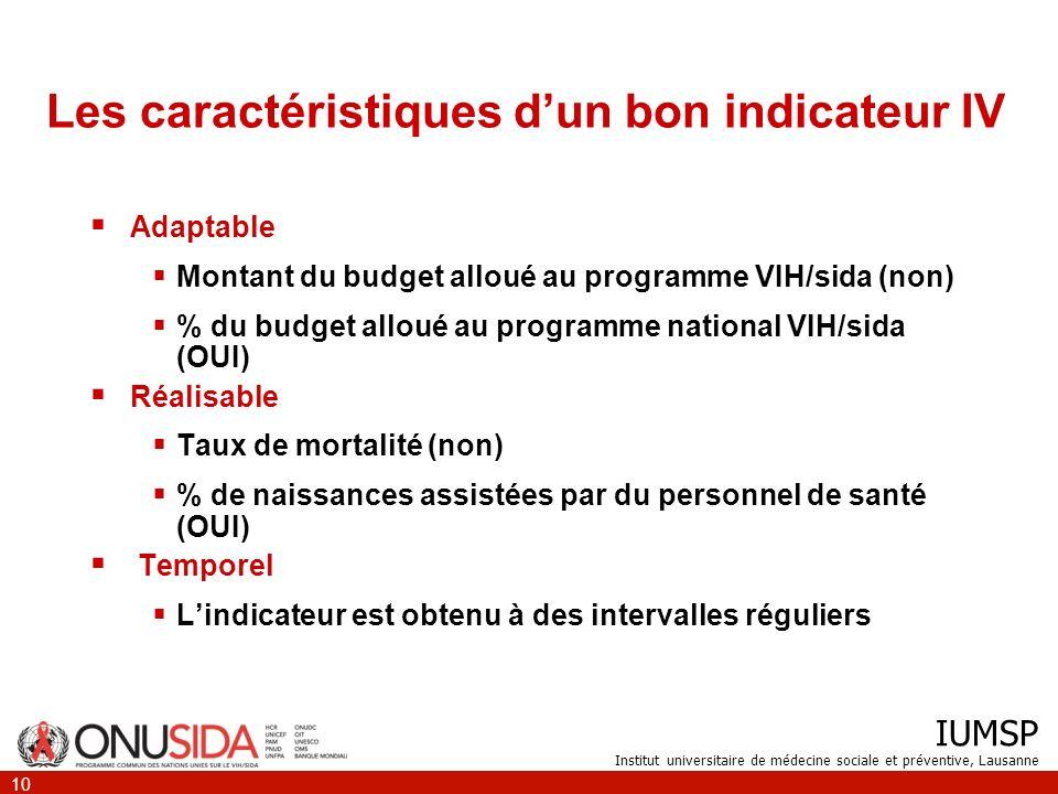 IUMSP Institut universitaire de médecine sociale et préventive, Lausanne 10 Les caractéristiques dun bon indicateur IV Adaptable Montant du budget all