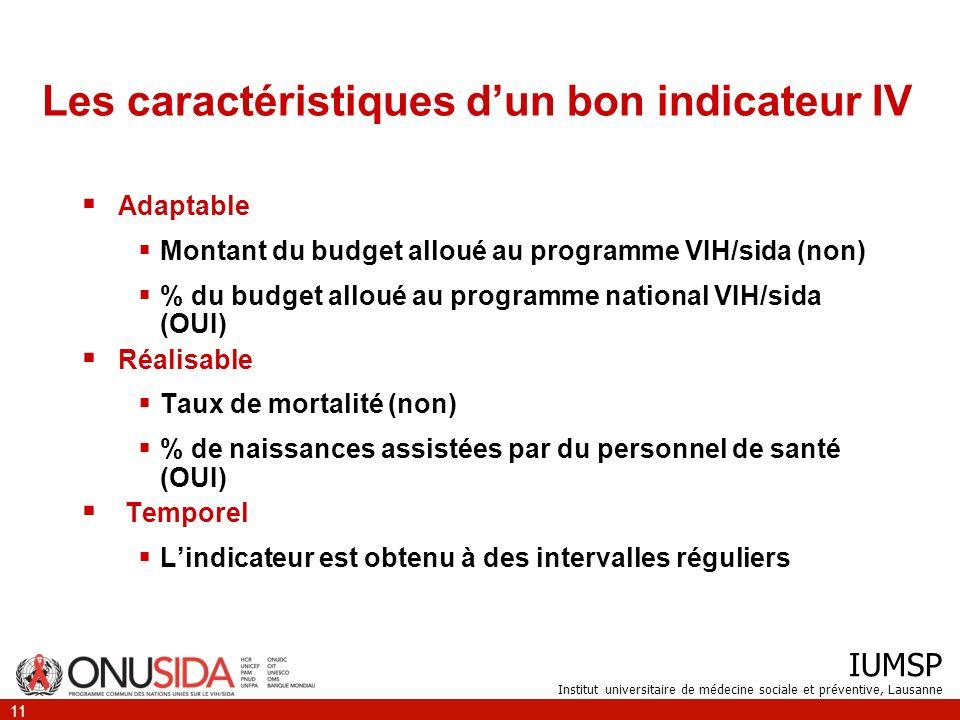 IUMSP Institut universitaire de médecine sociale et préventive, Lausanne 11 Les caractéristiques dun bon indicateur IV Adaptable Montant du budget all