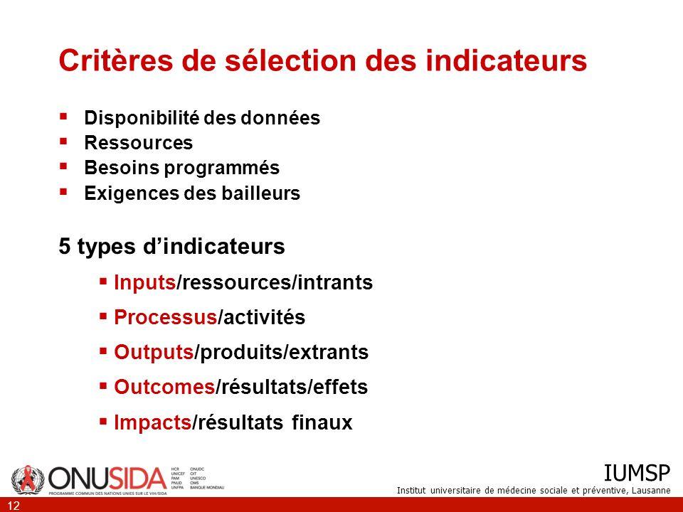 IUMSP Institut universitaire de médecine sociale et préventive, Lausanne 12 Critères de sélection des indicateurs Disponibilité des données Ressources