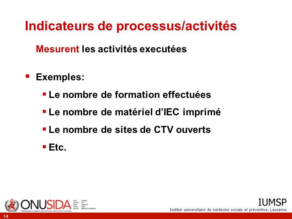 IUMSP Institut universitaire de médecine sociale et préventive, Lausanne 14 Indicateurs de processus/activités Mesurent les activités executées Exempl