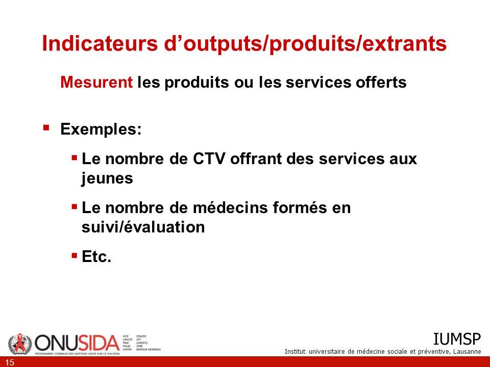 IUMSP Institut universitaire de médecine sociale et préventive, Lausanne 15 Indicateurs doutputs/produits/extrants Mesurent les produits ou les servic