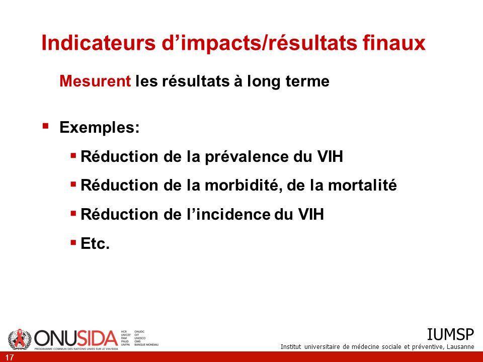 IUMSP Institut universitaire de médecine sociale et préventive, Lausanne 17 Indicateurs dimpacts/résultats finaux Mesurent les résultats à long terme