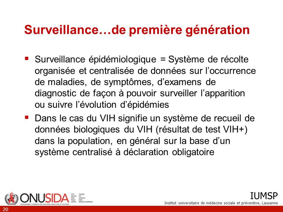 IUMSP Institut universitaire de médecine sociale et préventive, Lausanne 20 Surveillance…de première génération Surveillance épidémiologique = Système