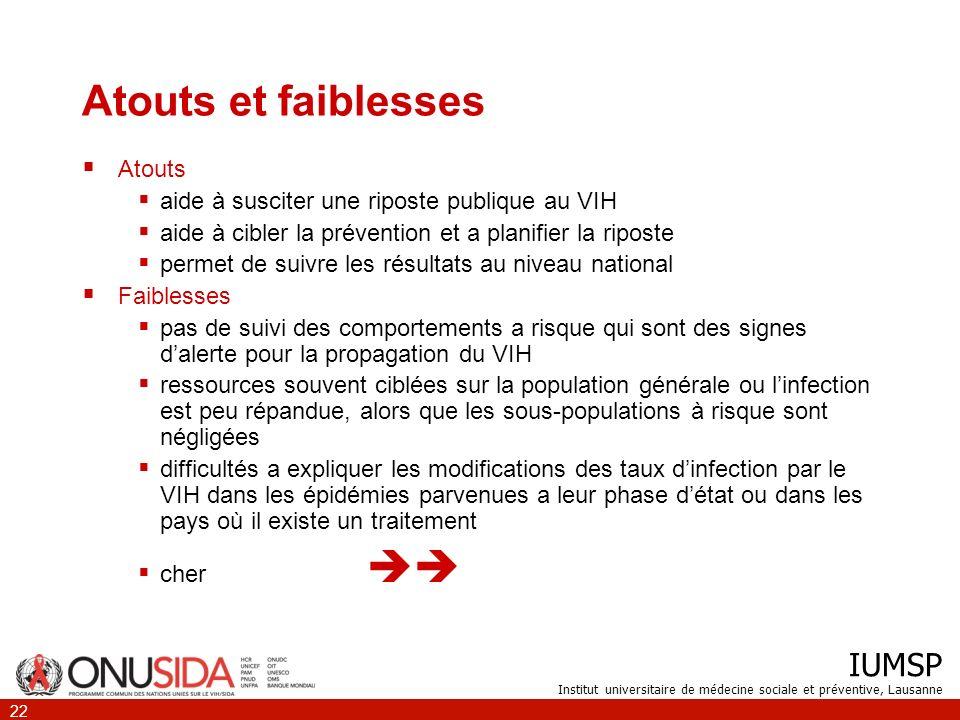 IUMSP Institut universitaire de médecine sociale et préventive, Lausanne 22 Atouts et faiblesses Atouts aide à susciter une riposte publique au VIH ai