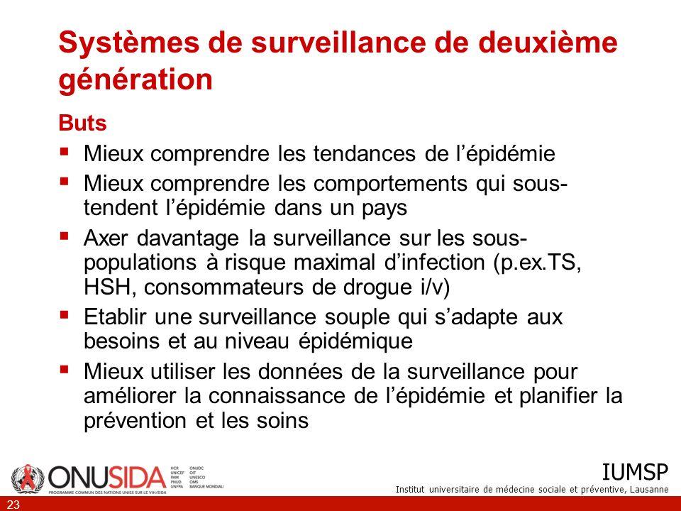 IUMSP Institut universitaire de médecine sociale et préventive, Lausanne 23 Systèmes de surveillance de deuxième génération Buts Mieux comprendre les