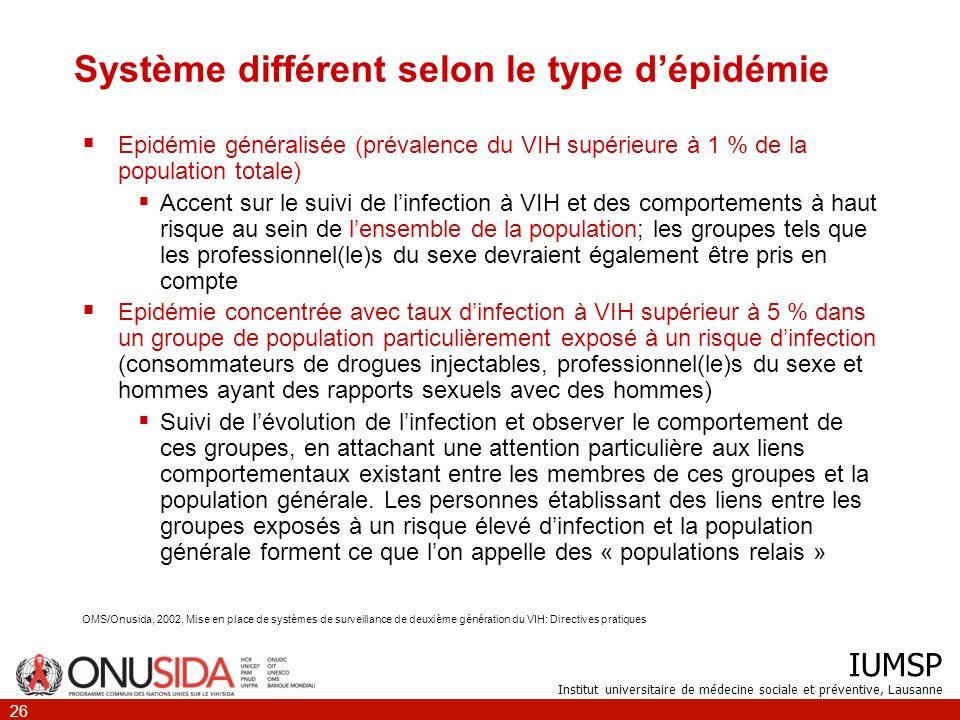 IUMSP Institut universitaire de médecine sociale et préventive, Lausanne 26 Système différent selon le type dépidémie Epidémie généralisée (prévalence