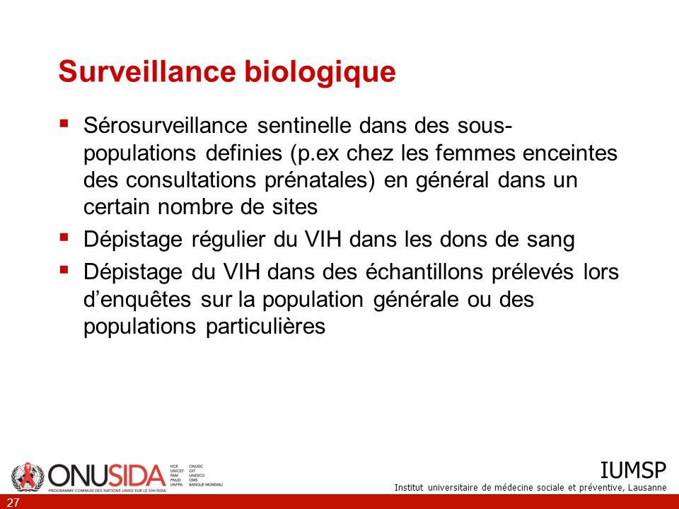 IUMSP Institut universitaire de médecine sociale et préventive, Lausanne 27 Surveillance biologique Sérosurveillance sentinelle dans des sous- populat