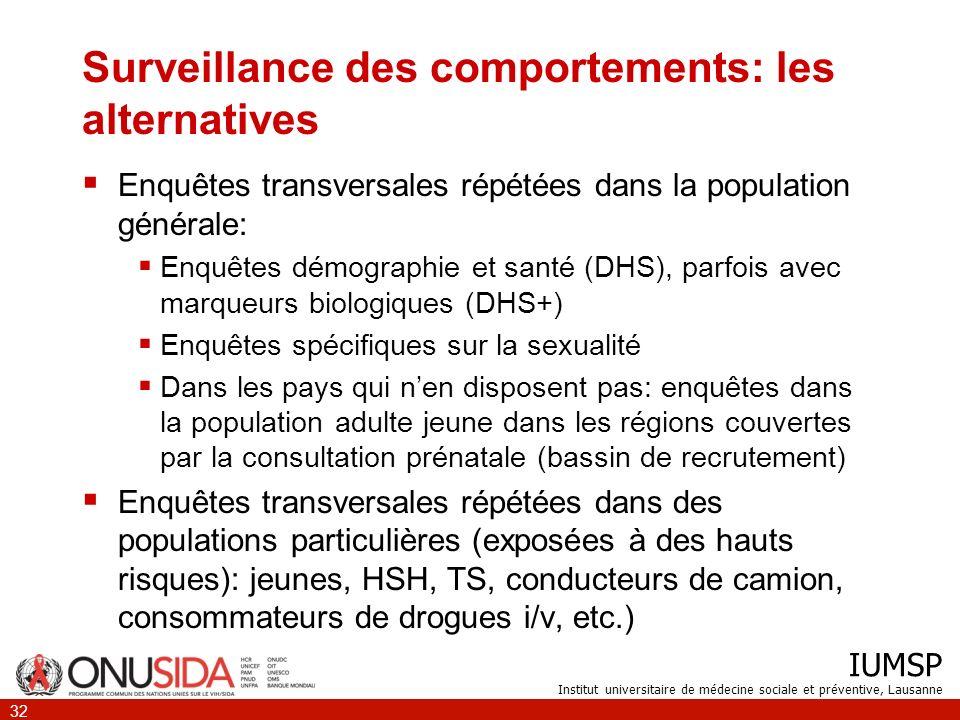 IUMSP Institut universitaire de médecine sociale et préventive, Lausanne 32 Surveillance des comportements: les alternatives Enquêtes transversales ré