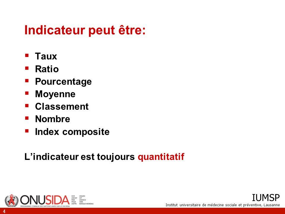 IUMSP Institut universitaire de médecine sociale et préventive, Lausanne 4 Indicateur peut être: Taux Ratio Pourcentage Moyenne Classement Nombre Inde