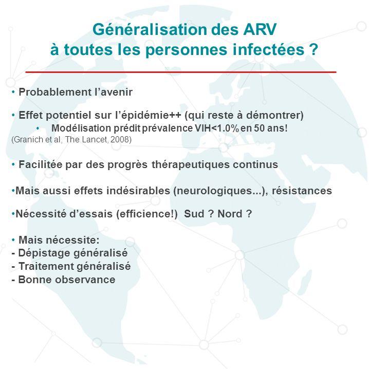 Généralisation des ARV à toutes les personnes infectées ? Probablement lavenir Effet potentiel sur lépidémie++ (qui reste à démontrer) Modélisation pr