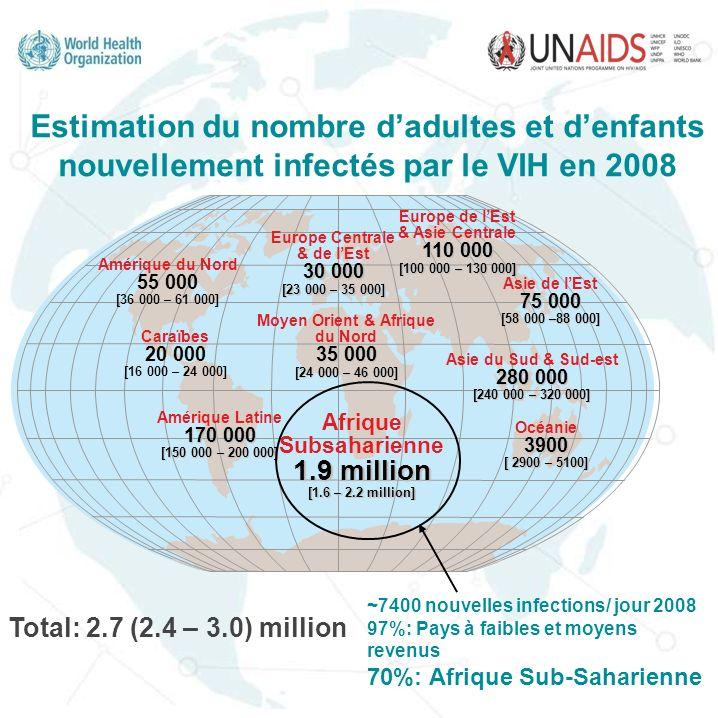 Vision globale de linfection à VIH 33.4 million de personnes [31.1-35.8 million] vivant avec le VIH dans le monde en 2008 5%- 28% Transmission : Hétérosexuelle Mère à lenfant 1% Hétérogénéité!