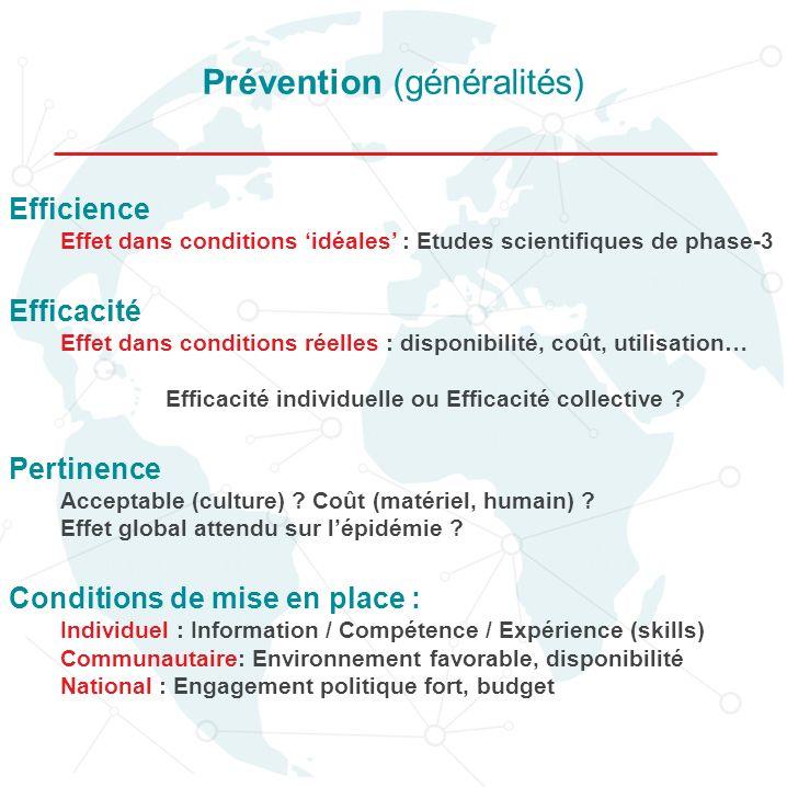 Efficience Effet dans conditions idéales : Etudes scientifiques de phase-3 Efficacité Effet dans conditions réelles : disponibilité, coût, utilisation