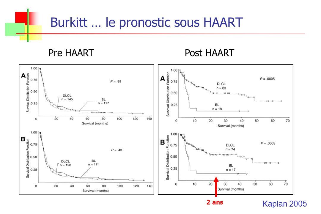 Burkitt … le pronostic sous HAART Pre HAARTPost HAART Kaplan 2005 2 ans