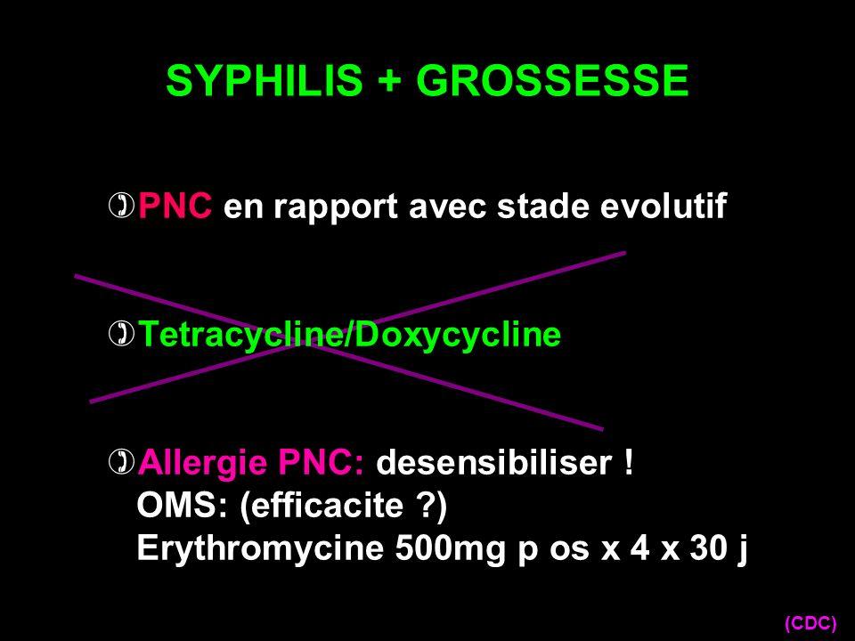 SYPHILIS + GROSSESSE (CDC) PNC en rapport avec stade evolutif Tetracycline/Doxycycline Allergie PNC: desensibiliser ! OMS: (efficacite ?) Erythromycin