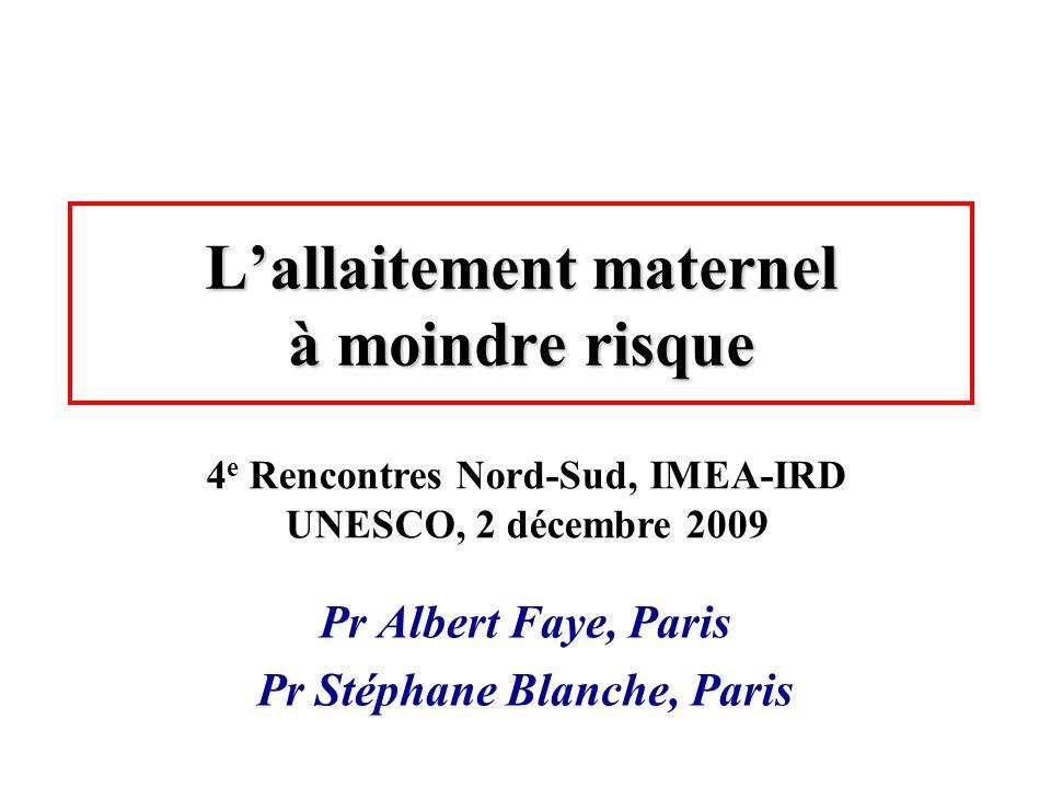 Lallaitement maternel à moindre risque Pr Albert Faye, Paris Pr Stéphane Blanche, Paris 4 e Rencontres Nord-Sud, IMEA-IRD UNESCO, 2 décembre 2009