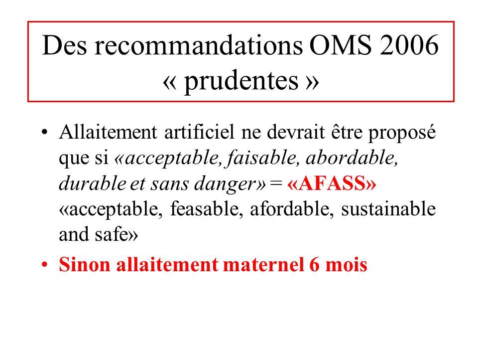 Des recommandations OMS 2006 « prudentes » Allaitement artificiel ne devrait être proposé que si «acceptable, faisable, abordable, durable et sans dan