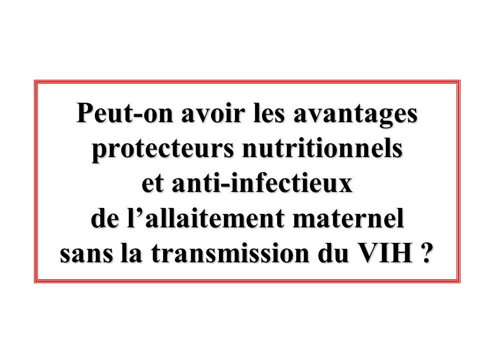 Peut-on avoir les avantages protecteurs nutritionnels et anti-infectieux de lallaitement maternel sans la transmission du VIH ?