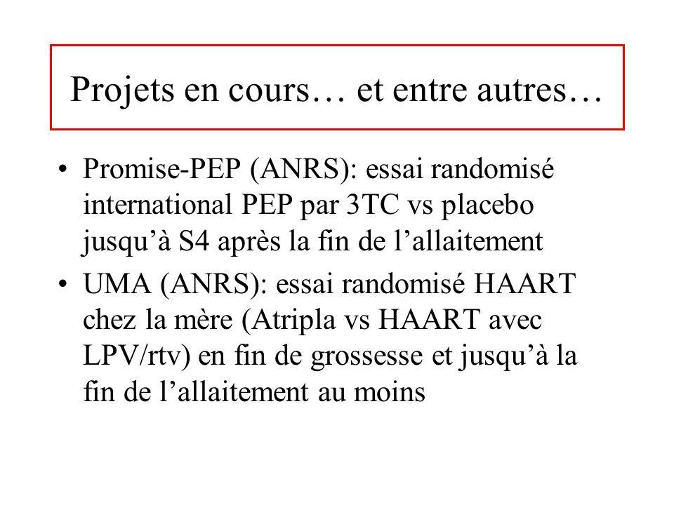 Projets en cours… et entre autres… Promise-PEP (ANRS): essai randomisé international PEP par 3TC vs placebo jusquà S4 après la fin de lallaitement UMA