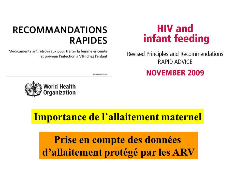 Prise en compte des données dallaitement protégé par les ARV Importance de lallaitement maternel