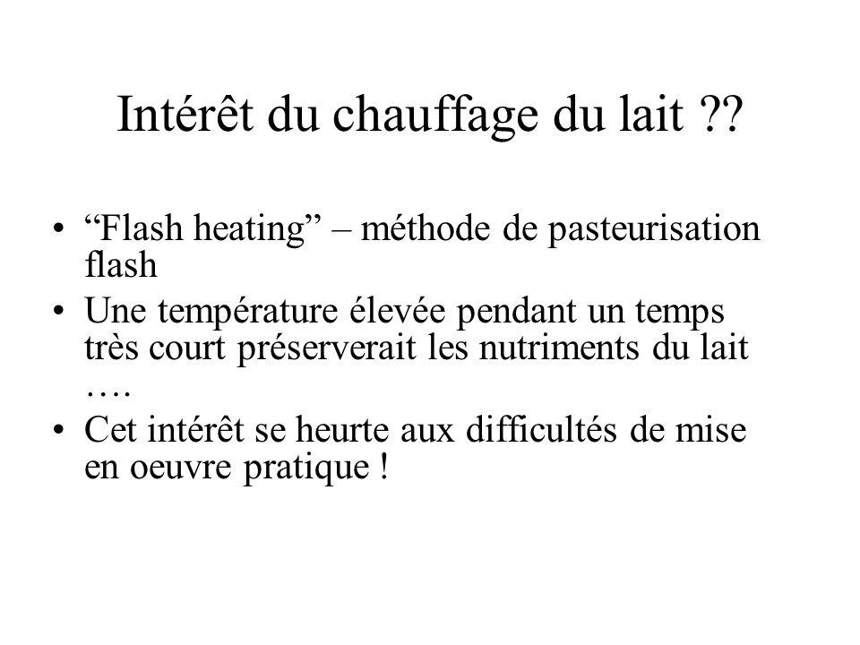 Intérêt du chauffage du lait ?? Flash heating – méthode de pasteurisation flash Une température élevée pendant un temps très court préserverait les nu