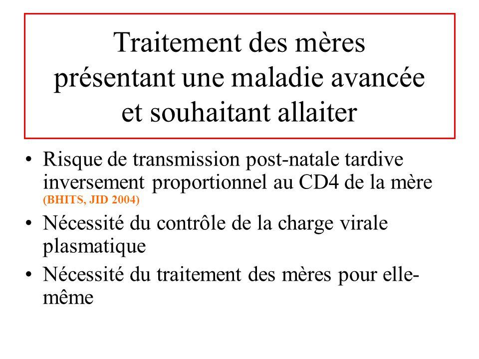 Traitement des mères présentant une maladie avancée et souhaitant allaiter Risque de transmission post-natale tardive inversement proportionnel au CD4