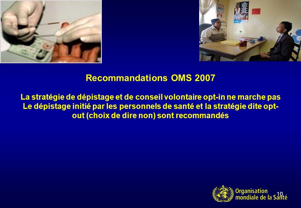 10 Recommandations OMS 2007 La stratégie de dépistage et de conseil volontaire opt-in ne marche pas Le dépistage initié par les personnels de santé et la stratégie dite opt- out (choix de dire non) sont recommandés