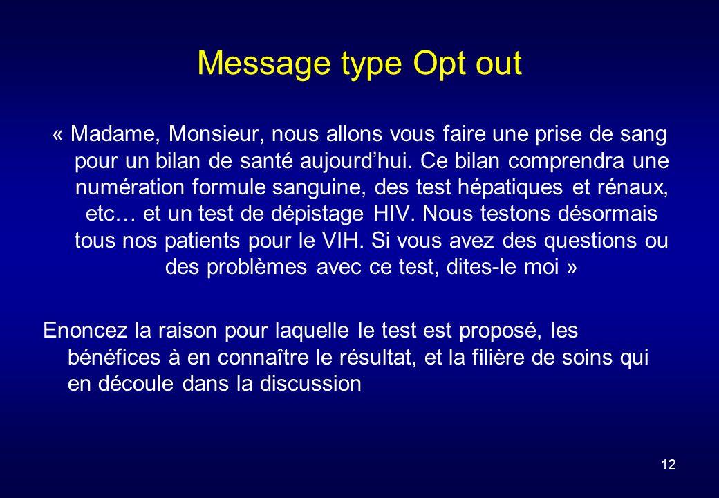 12 Message type Opt out « Madame, Monsieur, nous allons vous faire une prise de sang pour un bilan de santé aujourdhui.