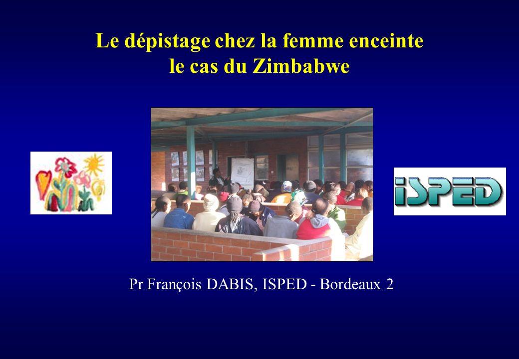 Le dépistage chez la femme enceinte le cas du Zimbabwe Pr François DABIS, ISPED - Bordeaux 2