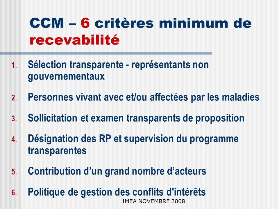 IMEA NOVEMBRE 2008 CCM – 6 critères minimum de recevabilité 1.