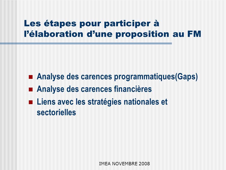 IMEA NOVEMBRE 2008 Les étapes pour participer à lélaboration dune proposition au FM Analyse des carences programmatiques(Gaps) Analyse des carences financières Liens avec les stratégies nationales et sectorielles