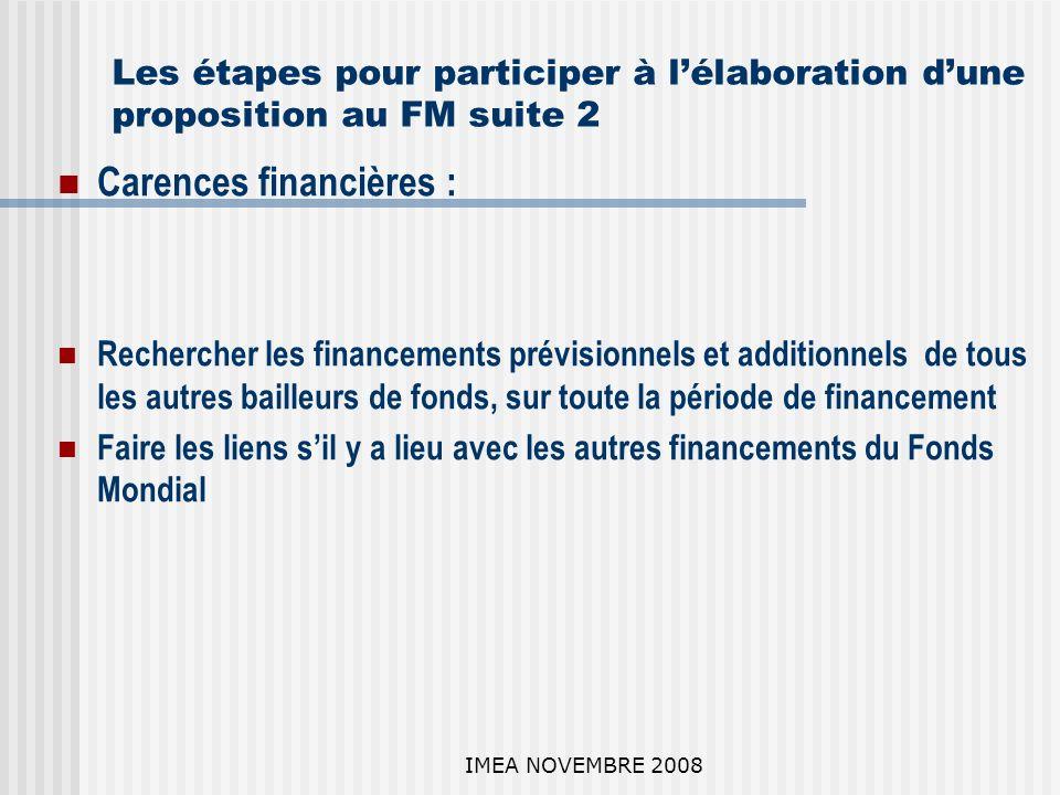 IMEA NOVEMBRE 2008 Les étapes pour participer à lélaboration dune proposition au FM suite 2 Carences financières : Rechercher les financements prévisionnels et additionnels de tous les autres bailleurs de fonds, sur toute la période de financement Faire les liens sil y a lieu avec les autres financements du Fonds Mondial