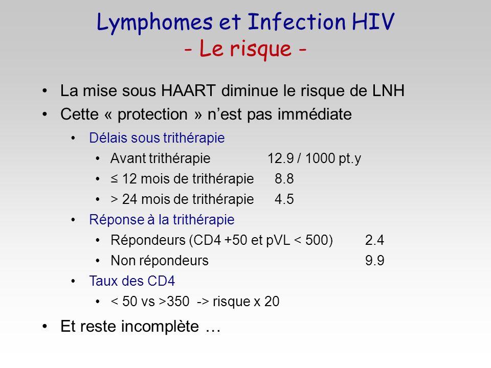 La mise sous HAART diminue le risque de LNH Cette « protection » nest pas immédiate Et reste incomplète … Lymphomes et Infection HIV - Le risque - Dél