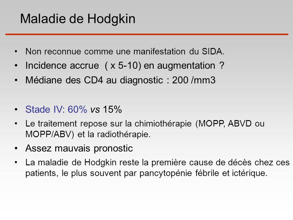 Maladie de Hodgkin Non reconnue comme une manifestation du SIDA. Incidence accrue ( x 5-10) en augmentation ? Médiane des CD4 au diagnostic : 200 /mm3