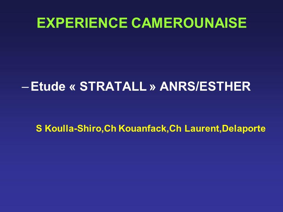 EXPERIENCE CAMEROUNAISE –Etude « STRATALL » ANRS/ESTHER S Koulla-Shiro,Ch Kouanfack,Ch Laurent,Delaporte