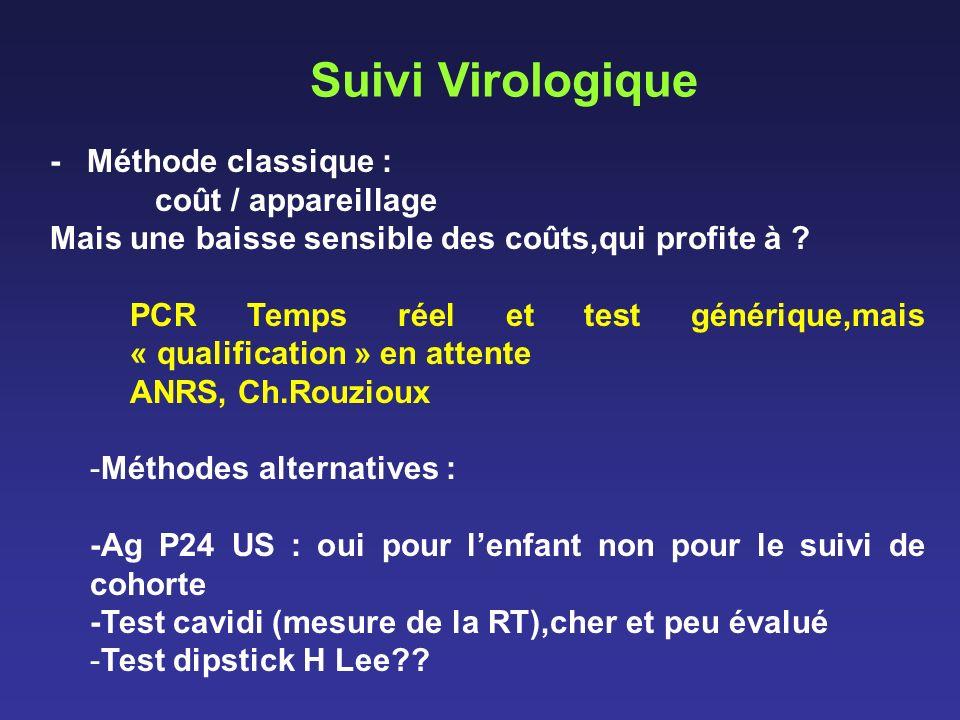 Suivi Virologique - Méthode classique : coût / appareillage Mais une baisse sensible des coûts,qui profite à ? PCR Temps réel et test générique,mais «