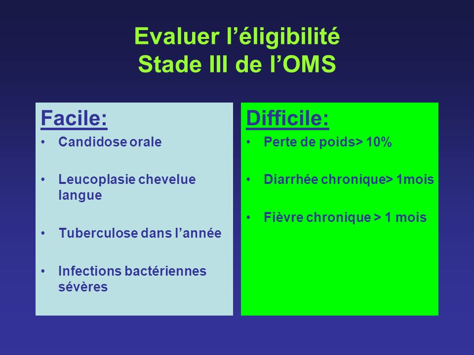 Evaluer léligibilité Stade III de lOMS Facile: Candidose orale Leucoplasie chevelue langue Tuberculose dans lannée Infections bactériennes sévères Dif