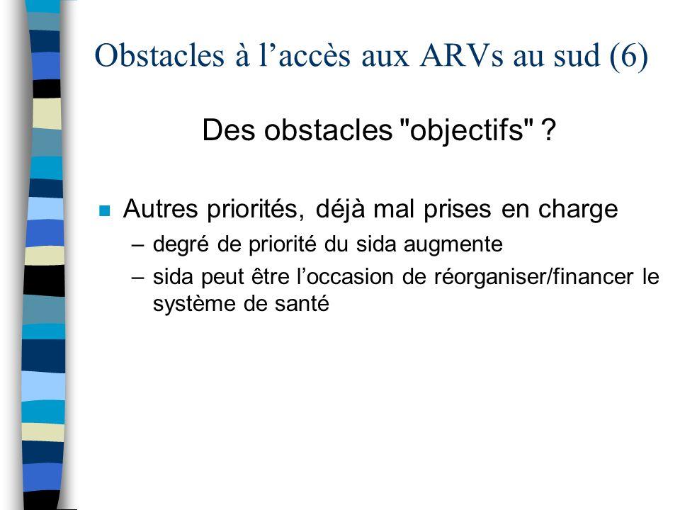 Obstacles à laccès aux ARVs au sud (6) Des obstacles objectifs .