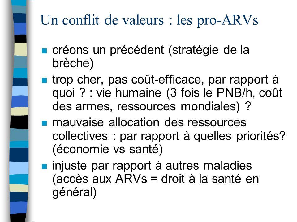 Un conflit de valeurs : les pro-ARVs n créons un précédent (stratégie de la brèche) n trop cher, pas coût-efficace, par rapport à quoi .