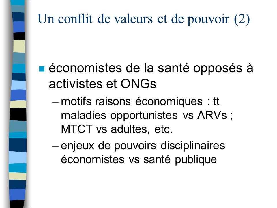 Un conflit de valeurs et de pouvoir (2) n économistes de la santé opposés à activistes et ONGs –motifs raisons économiques : tt maladies opportunistes vs ARVs ; MTCT vs adultes, etc.