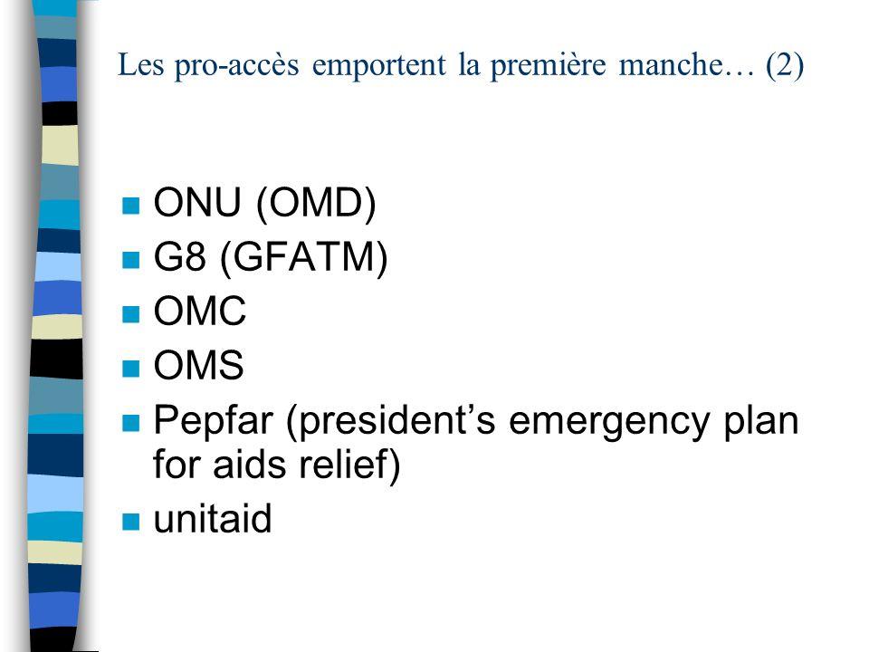 Les pro-accès emportent la première manche… (2) n ONU (OMD) n G8 (GFATM) n OMC n OMS n Pepfar (presidents emergency plan for aids relief) n unitaid