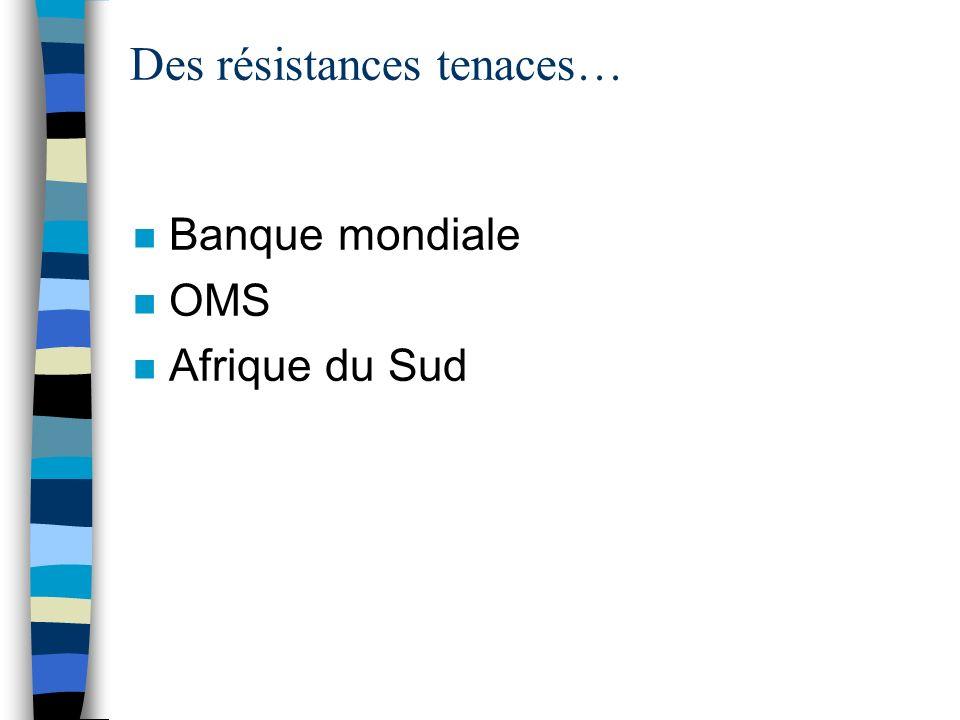Des résistances tenaces… n Banque mondiale n OMS n Afrique du Sud