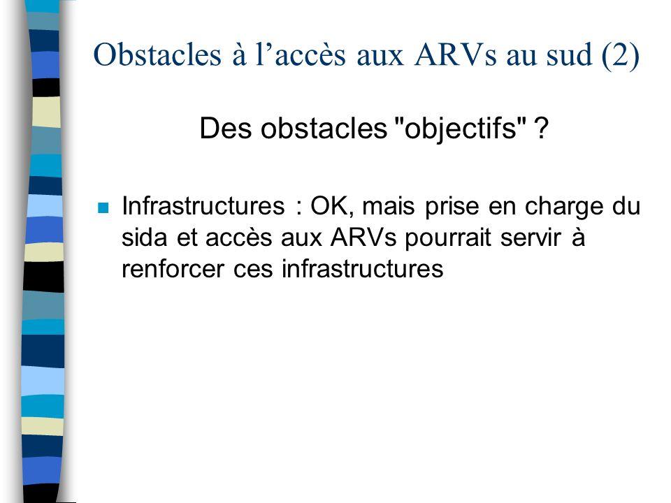 Obstacles à laccès aux ARVs au sud (2) Des obstacles objectifs .