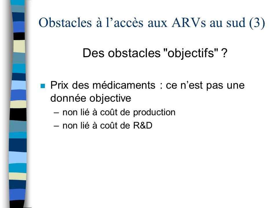 Obstacles à laccès aux ARVs au sud (3) Des obstacles objectifs .